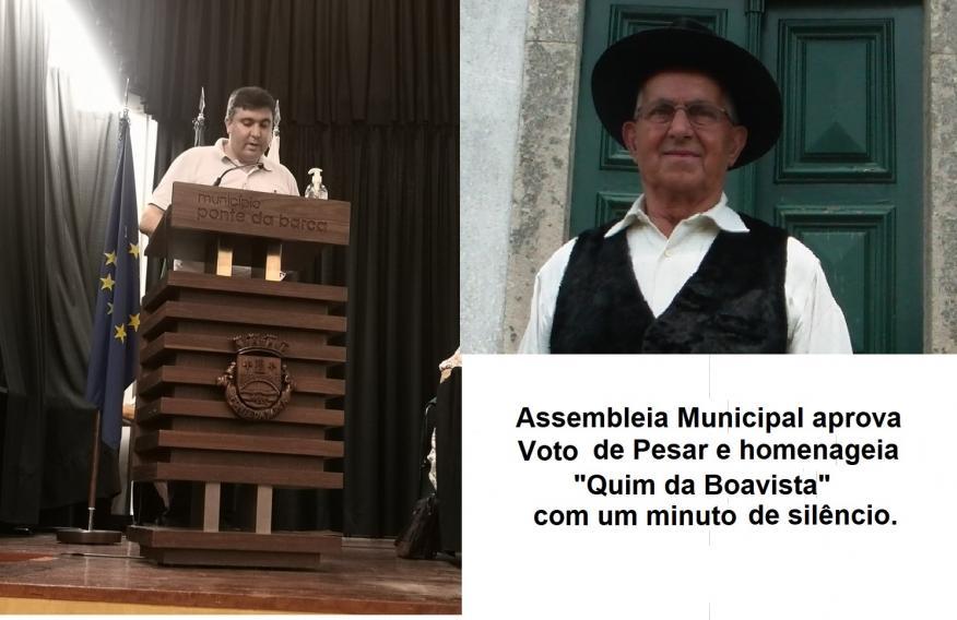 """Assembleia Municipal aprova voto de pesar e homenageia """"Quim da Boavista"""" com um minuto de Silêncio"""